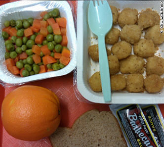 School meals served in plastic.