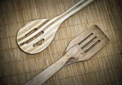 bamboo serving spoons on bamboo placemat